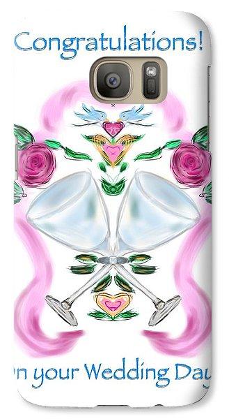 Galaxy Case featuring the digital art Love Birds White Wedding by Christine Fournier