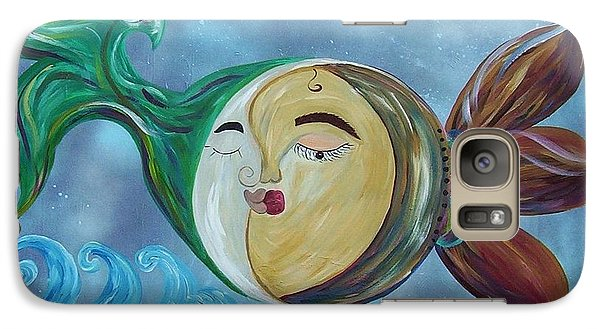 Galaxy Case featuring the painting Love Connect - You Are My Moon And Sun by Eloise Schneider