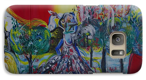 Galaxy Case featuring the painting Love Dance In Five Panell by Sima Amid Wewetzer