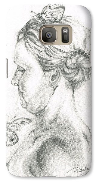 Galaxy Case featuring the drawing Loves- Her Butterflies by Teresa White