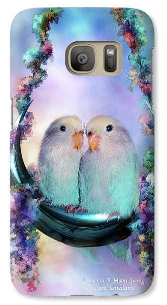Love On A Moon Swing Galaxy Case by Carol Cavalaris