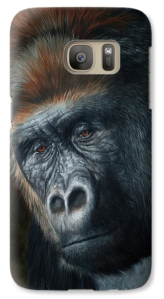 Gorilla Galaxy S7 Case - Lowland Gorilla Painting by David Stribbling