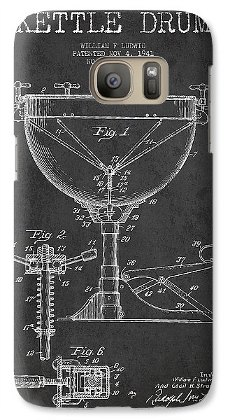 Drum Galaxy S7 Case - Ludwig Kettle Drum Drum Patent Drawing From 1941 - Dark by Aged Pixel
