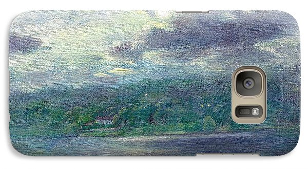 Galaxy Case featuring the painting Luminous Moon Over Lake by Judith Cheng