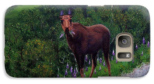Galaxy Case featuring the painting Lupine Loving Moose by Barbara Griffin