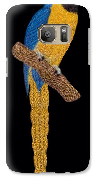 Galaxy Case featuring the digital art Macaw Parrot by Walter Colvin