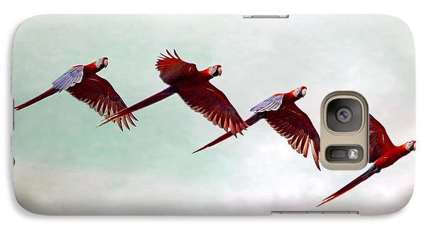 Galaxy Case featuring the photograph Mackaws Flying In A Flock by Peggy Collins