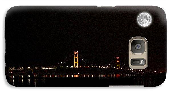 Galaxy Case featuring the photograph Mackinac Bridge And Moon by Randy Pollard