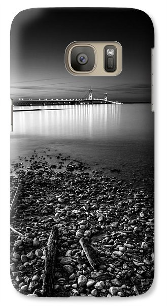 Galaxy Case featuring the photograph Mackinac Bridge Bw by Larry Carr