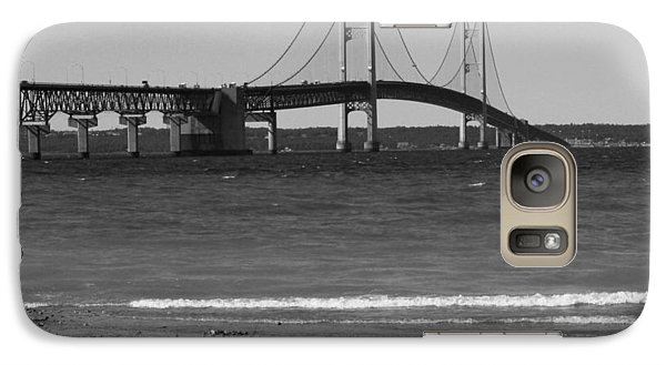 Galaxy Case featuring the photograph Mackinaw Bridge Black And White by Bill Woodstock