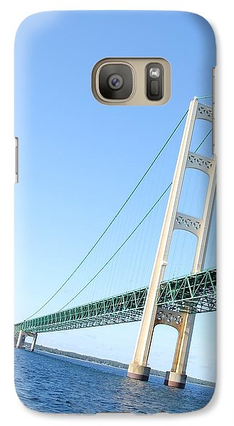 Galaxy Case featuring the photograph Mackinaw Bridge North Tower by Bill Woodstock