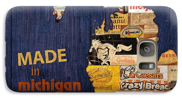 Made In Michigan Products Vintage Map On Wood Galaxy S7 Case