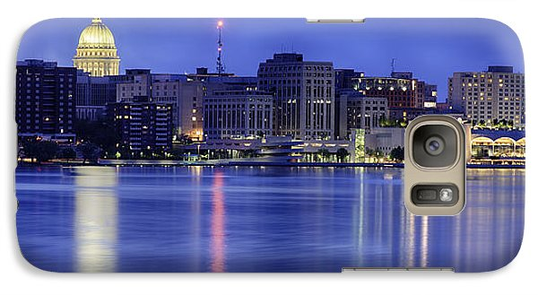 Galaxy Case featuring the photograph Madison Skyline Reflection by Sebastian Musial