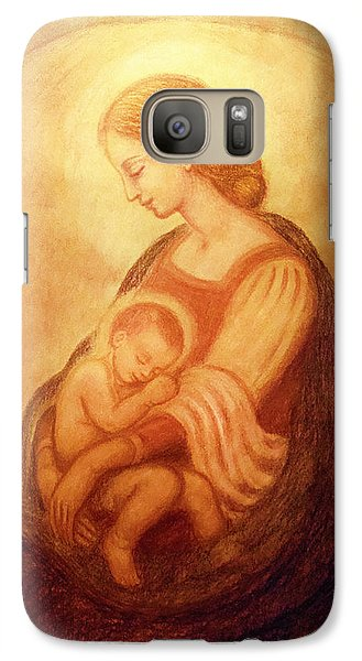 Galaxy Case featuring the mixed media Madonna With The Sleeping Child by Ananda Vdovic