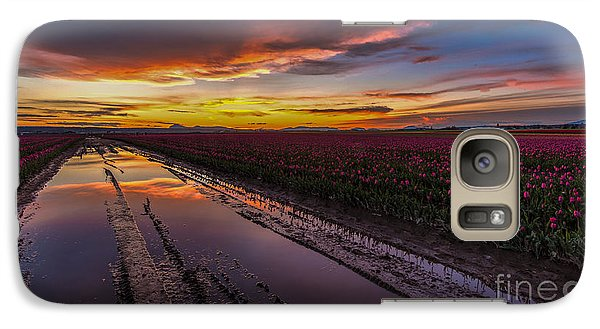 Magenta Fields Tulips Galaxy Case by Mike Reid