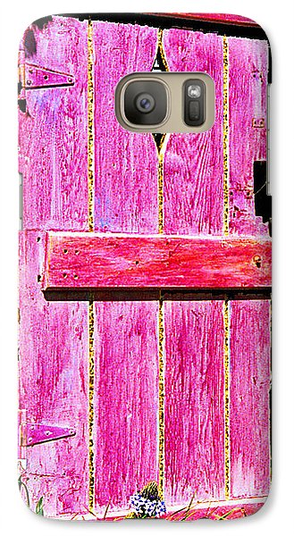 Galaxy Case featuring the sculpture Magenta Painted Door In Garden  by Asha Carolyn Young and Daniel Furon
