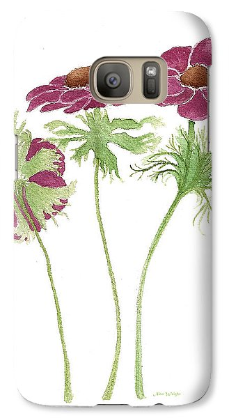 Galaxy Case featuring the painting Magenta Wind Flowers by Nan Wright