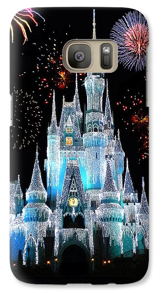Magic Kingdom Castle In Frosty Light Blue With Fireworks 06 Galaxy S7 Case
