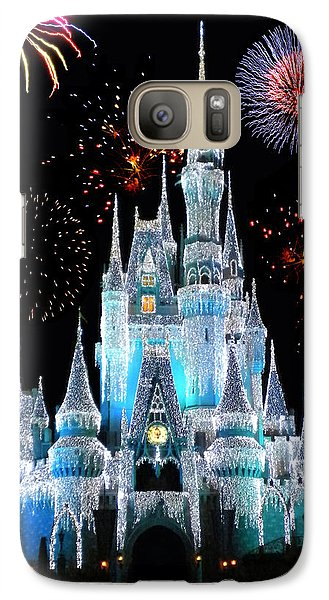 Castle Galaxy S7 Case - Magic Kingdom Castle In Frosty Light Blue With Fireworks 06 by Thomas Woolworth