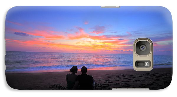 Galaxy Case featuring the photograph Magnificent Sunset With Couple by Ed Cilley