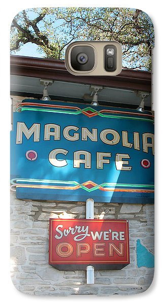 Galaxy Case featuring the photograph Magnolia Cafe Sign In Austin by Connie Fox