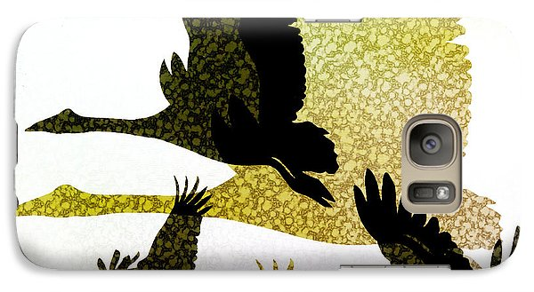 Magpies Galaxy S7 Case - Magpie Geese In Flight by Holly Kempe