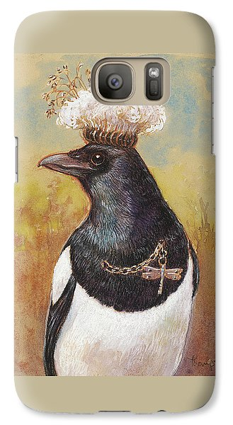 Magpie In A Milkweed Crown Galaxy Case by Tracie Thompson