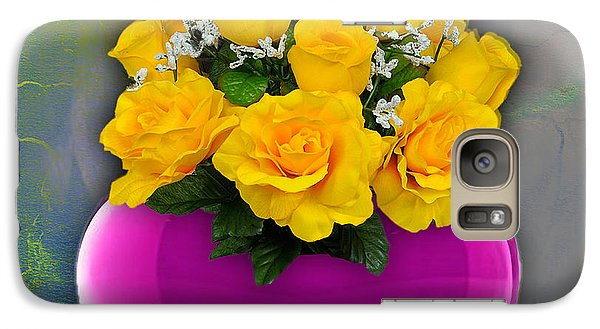 Majenta Heart Vase With Yellow Roses Galaxy S7 Case