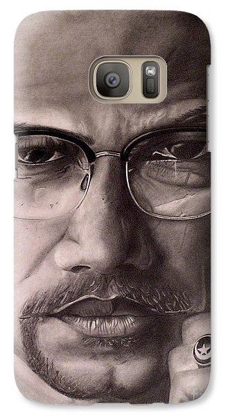 Galaxy Case featuring the drawing Malcolm X by Wil Golden