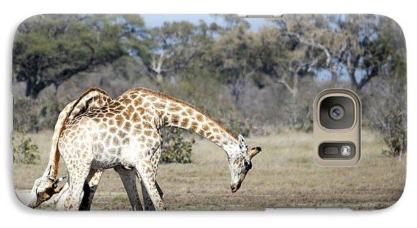 Galaxy Case featuring the photograph Male Giraffes Necking by Liz Leyden