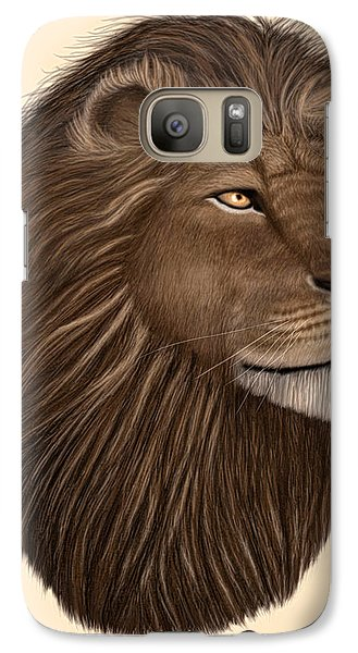 Galaxy Case featuring the digital art Male Lion Portrait by Walter Colvin
