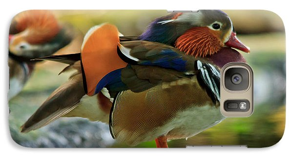 Galaxy Case featuring the photograph Male Mandarin Duck On A Rock by Eti Reid