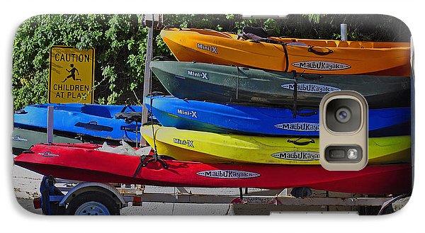 Galaxy Case featuring the digital art Malibu Kayaks by Gandz Photography