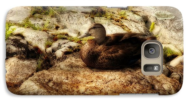 Galaxy Case featuring the photograph Mallard Duck Onaping by Marjorie Imbeau