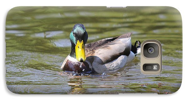 Galaxy Case featuring the photograph Mallard Green Headed Duck Anas Platyrhynchos - Male by Jivko Nakev