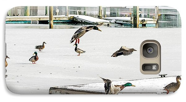 Galaxy Case featuring the photograph Mallards In Motion by Constantine Gregory