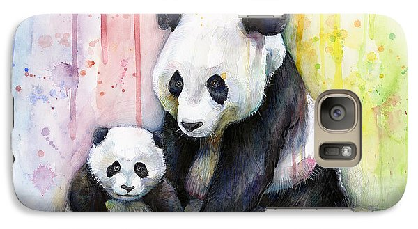 Panda Watercolor Mom And Baby Galaxy S7 Case