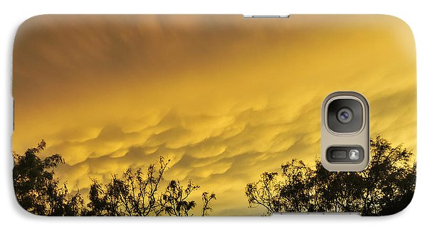 Galaxy Case featuring the photograph Mammatus Clouds At Sunset by Karen Slagle