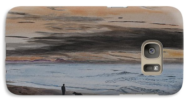 Galaxy Case featuring the painting Man And Dog On The Beach by Ian Donley