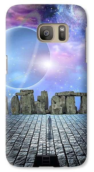Galaxy Case featuring the digital art Man Before Stone Structure by Bruce Rolff
