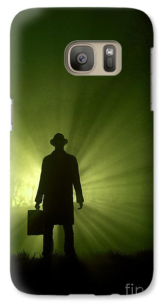 Galaxy Case featuring the photograph Man In Light Beams by Lee Avison