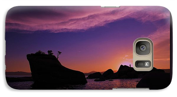 Galaxy Case featuring the photograph Man In Sun At Bonsai Rock by Sean Sarsfield