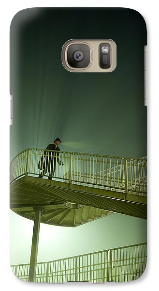 Galaxy Case featuring the photograph Man On Stairs With Case In Fog by Lee Avison