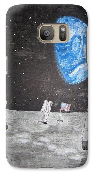 Galaxy Case featuring the painting Man On The Moon by Kathy Marrs Chandler
