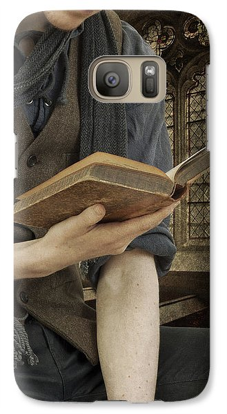 Galaxy Case featuring the photograph Man Reading Book by Ethiriel  Photography