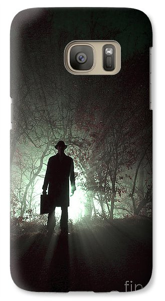 Galaxy Case featuring the photograph Man Waiting In Fog With Case by Lee Avison