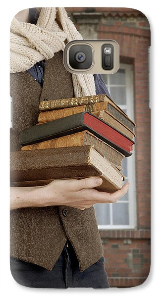 Galaxy Case featuring the photograph Man With Books by Ethiriel  Photography