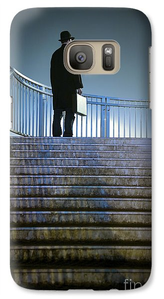 Galaxy Case featuring the photograph Man With Case At Night On Stairs by Lee Avison