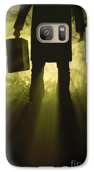 Galaxy Case featuring the photograph Man With Case In Fog by Lee Avison