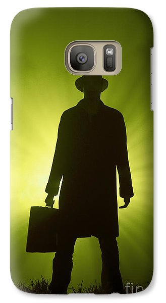 Galaxy Case featuring the photograph Man With Case In Green Light by Lee Avison